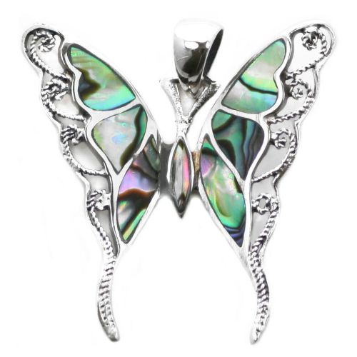 Swallowtail Butterfly Silver and Abalone Pendant (P025)